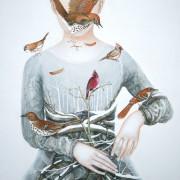 """"""" Coeur cardinal """" 100 x 90 cm"""