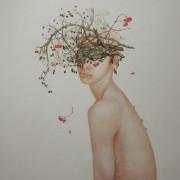 """"""" Poires d'oiseaux """" 120 x 120 cm Sold"""