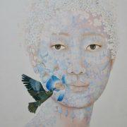 """"""" Pavot bleu """" 95 x 75 cm"""