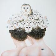 Dames blanches - kerkuilen 90 x 90 cm